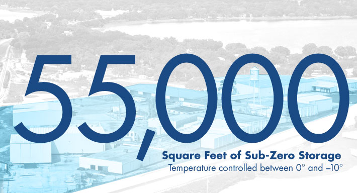 155,000 square feet of sub-zero storage Temperature controlled between 0 and -10 degrees