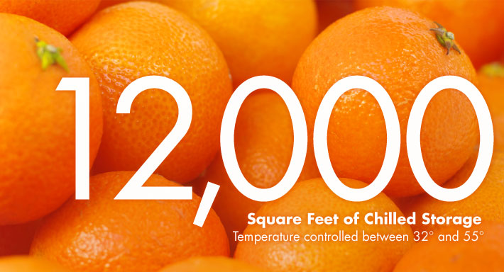 12,000 square feet of chilled storage Temperature controlled between 32 and 55 degrees